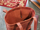 tote leather bag in chocolate color