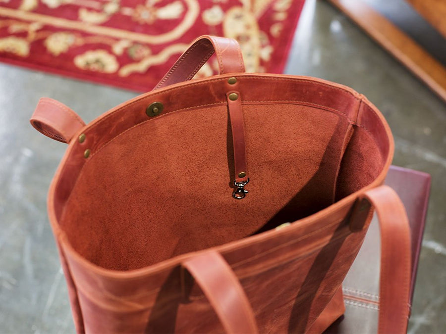 Crazy Horse Leather Tote Bag - Chocolate - olpr.