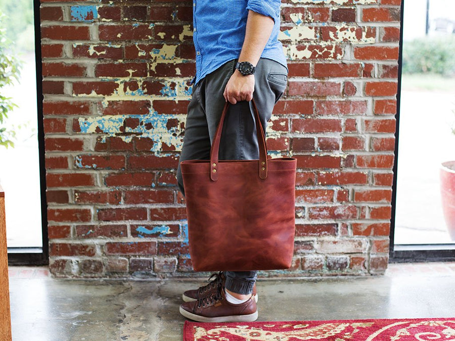 olpr. leather tote bag chocolate