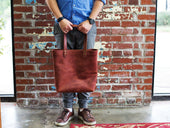 image of chocolate leather tote