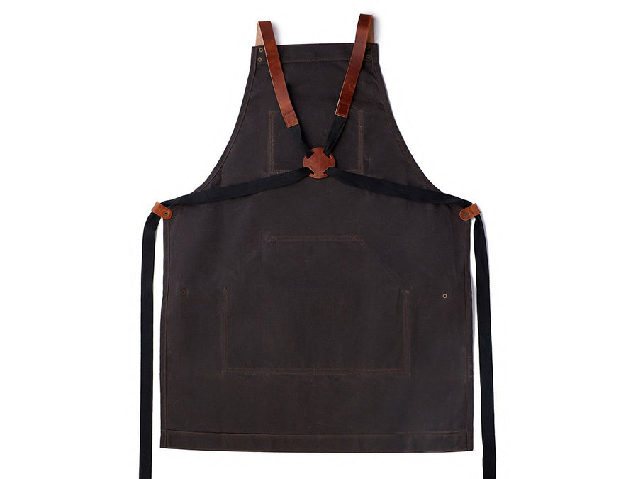 dark chocolate canvas and leather apron photo