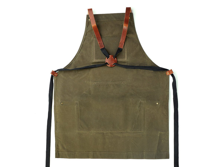 photo of waxed canvas green apron