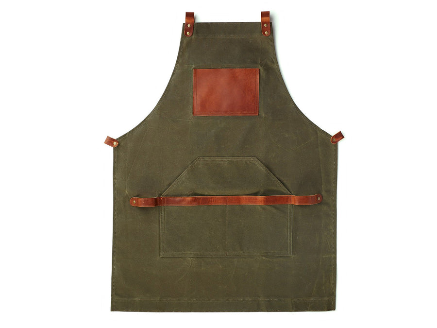durable work apron green - waxed canvas