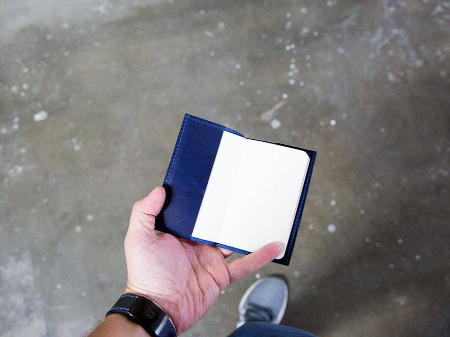 Horween Leather Mini Journal with Pen - Blue - olpr.
