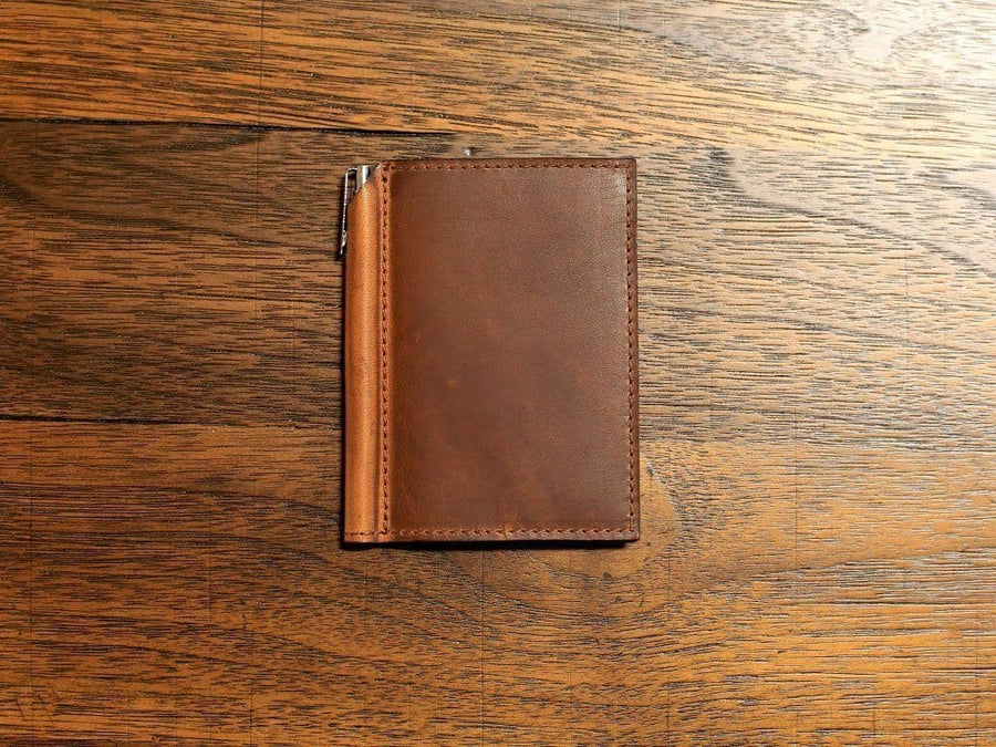 image of small journal with pen in chestnut horween leather