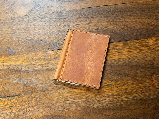 image of mini journal with pen in horween natural leather