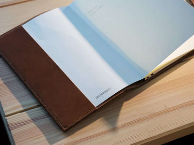 photo of chestnut horween a5 leather journal case