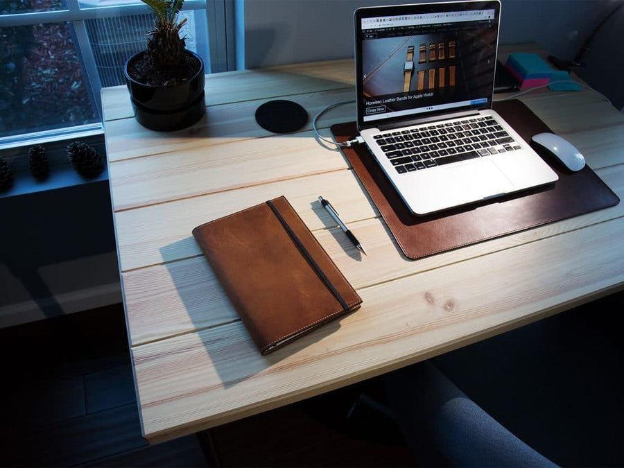 image of a5 journal case in horween natural leather
