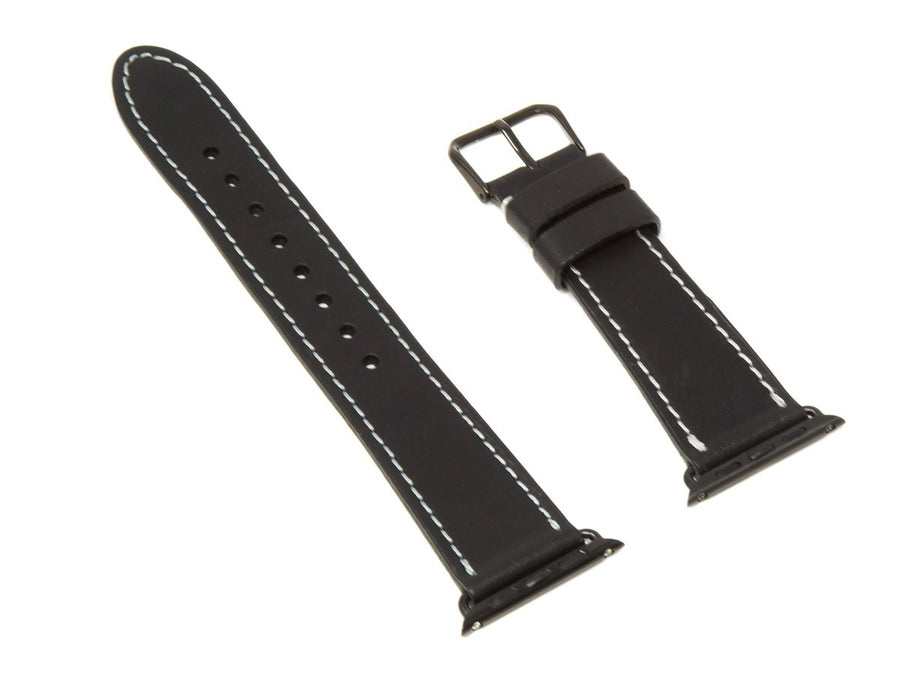 image of black horween leather apple watch strap