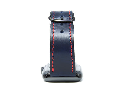 image of blue horween leather apple watch strap