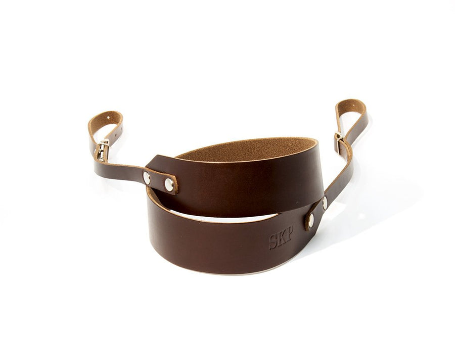 photo of horween brown leather camera strap minimal