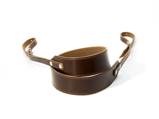 photo of horween brown leather camera strap standard