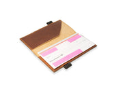 image of real leather passport cover in chestnut color