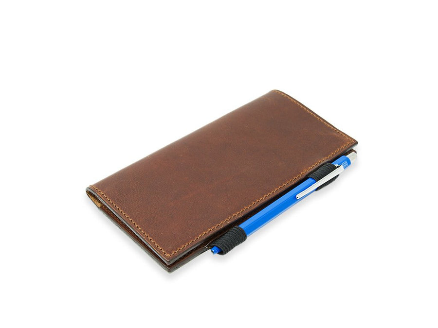 photo of handcrafted leather passport cover chestnutl
