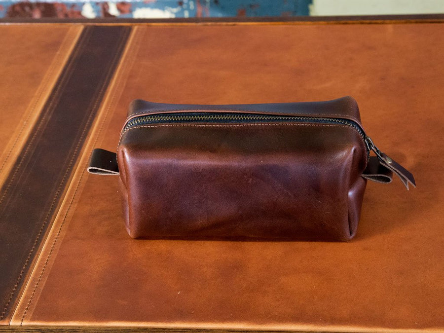 horween brown leather dopp kit image