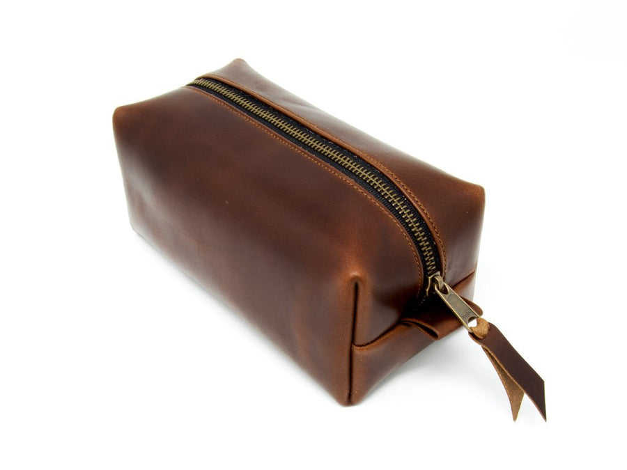 photo of horween leather dopp kit - brown