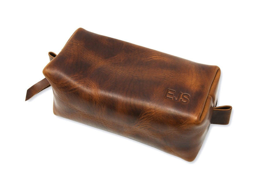 chestnut leather dopp kit photo