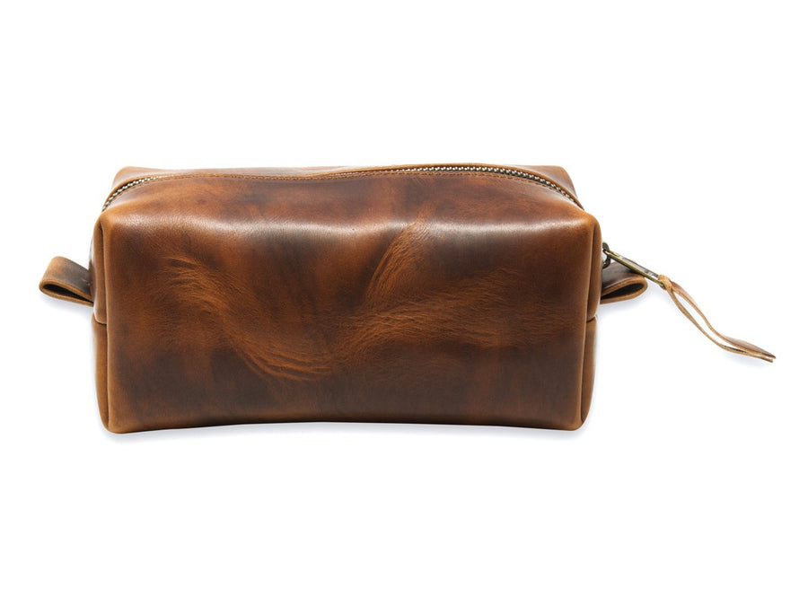 horween chestnut leather dopp kit image