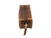 photo of leather dopp kit chestnut