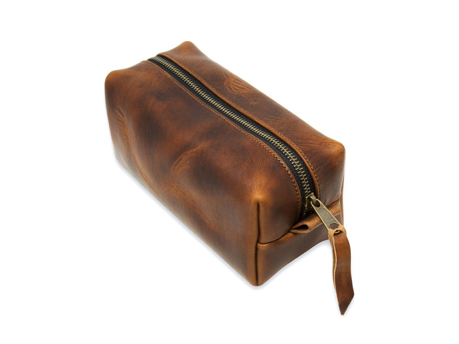 photo of horween leather dopp kit - chestnut