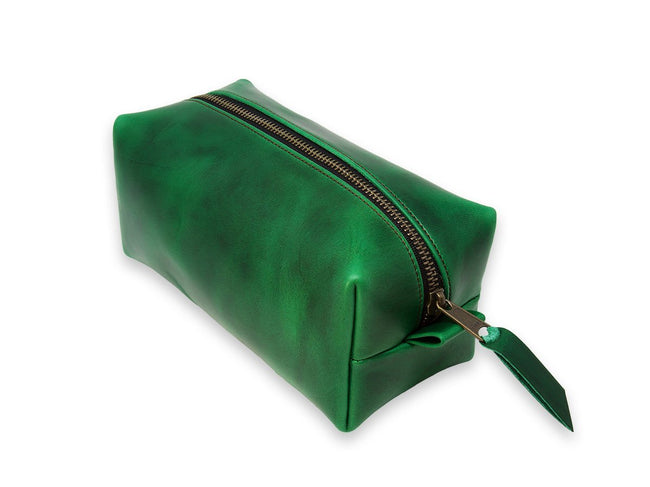 photo of horween leather dopp kit - green