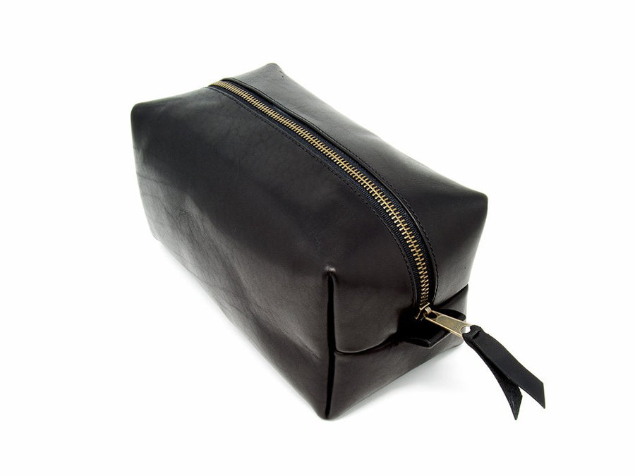 Horween Leather Dopp Kit with Handle - Black - olpr.