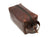 photo of brown leather dopp kit with handle