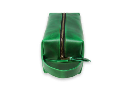 green leather dopp kit with handle photo