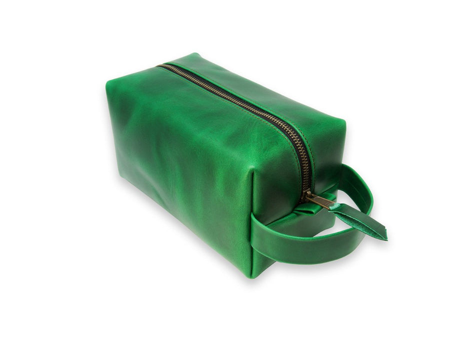 photo of horween leather dopp kit with handle - green