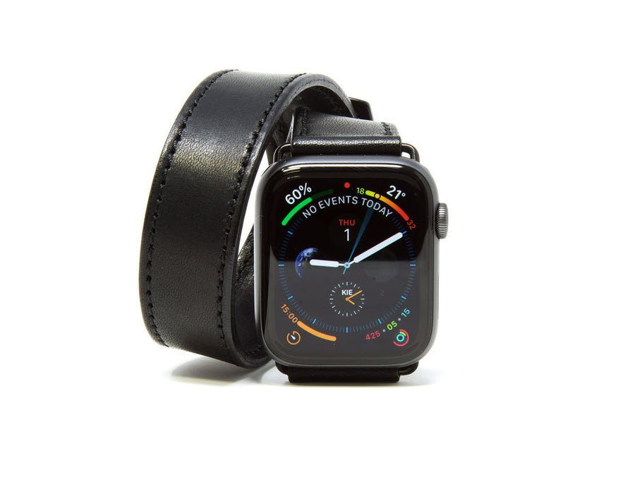 photo of black horween leather double tour iwatch band