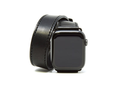 photo of horween leather double wrap apple watch band - black