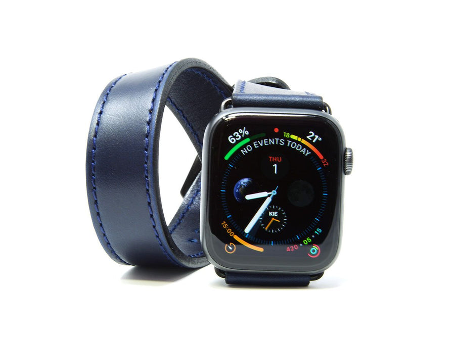 photo of blue horween leather double tour iwatch band