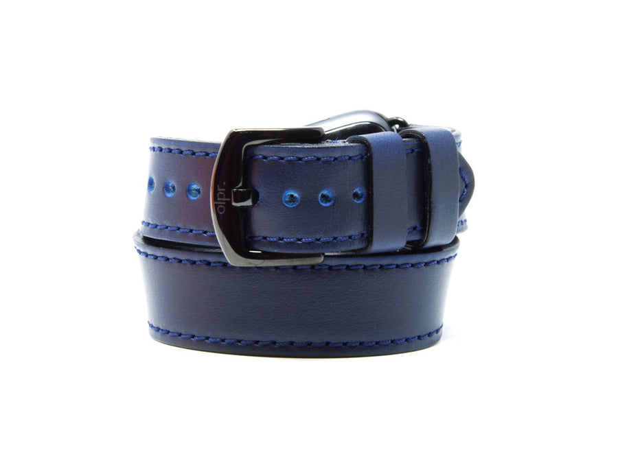 photo of horween blue leather duoble tour apple watch strap