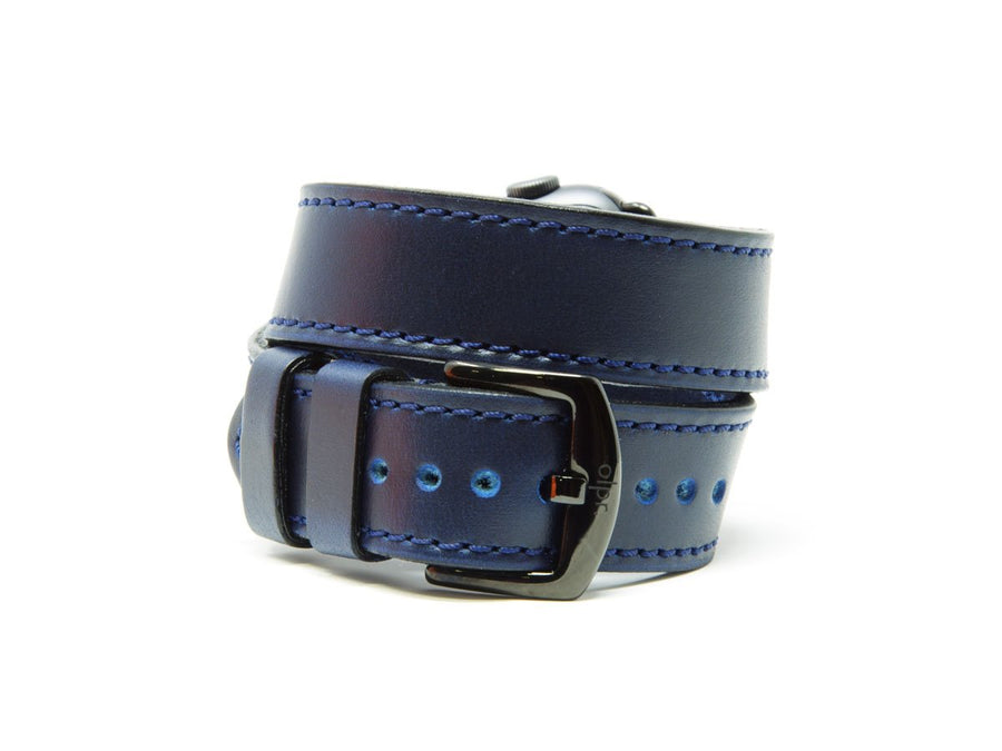 image of blue leather double tour apple watch band