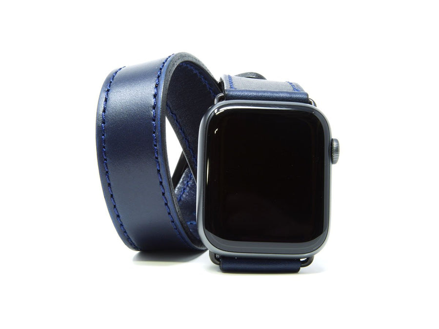 photo of horween leather double wrap apple watch band - blue