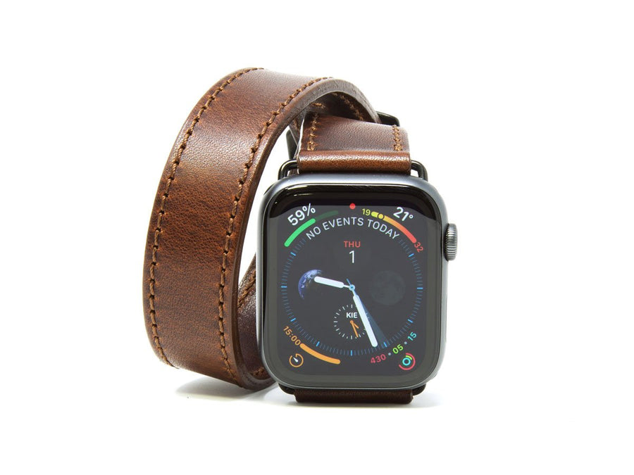 Horween Leather Double Wrap Apple Watch Band - Chestnut - olpr.