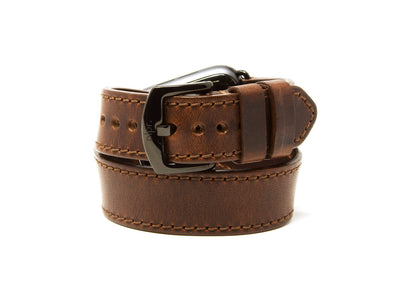 photo of horween chestnut leather duoble tour apple watch strap
