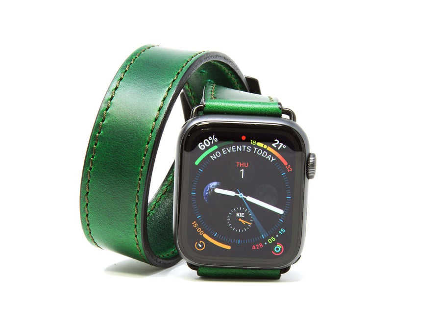 photo of green horween leather double tour iwatch band