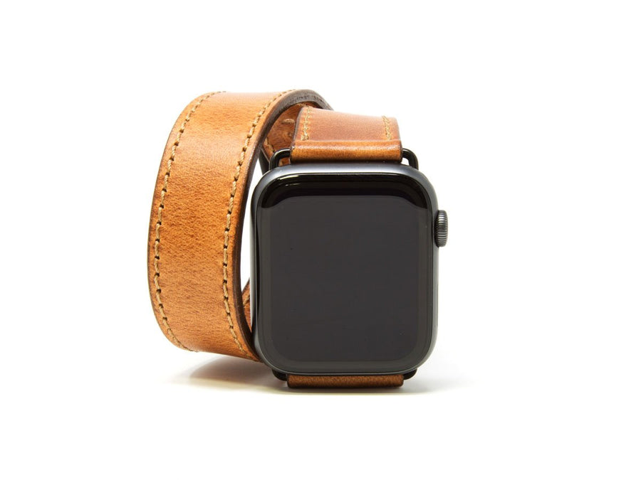 Horween Leather Double Wrap Apple Watch Band - Natural - olpr.