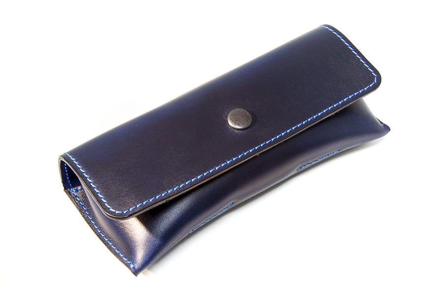 photo of horween leather glasses case - blue
