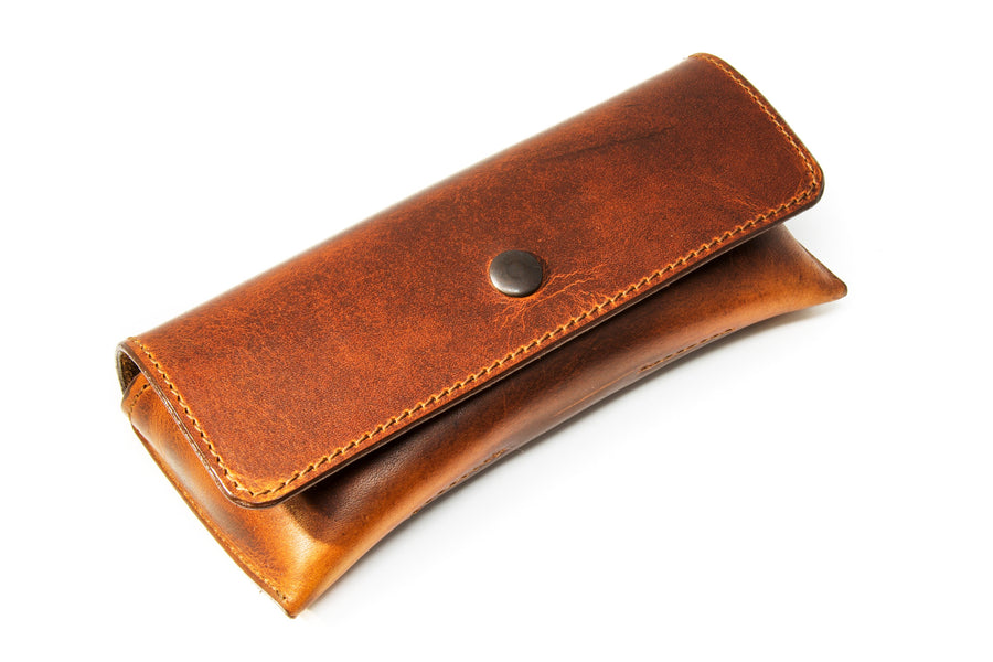 photo of horween leather glasses case - chestnut