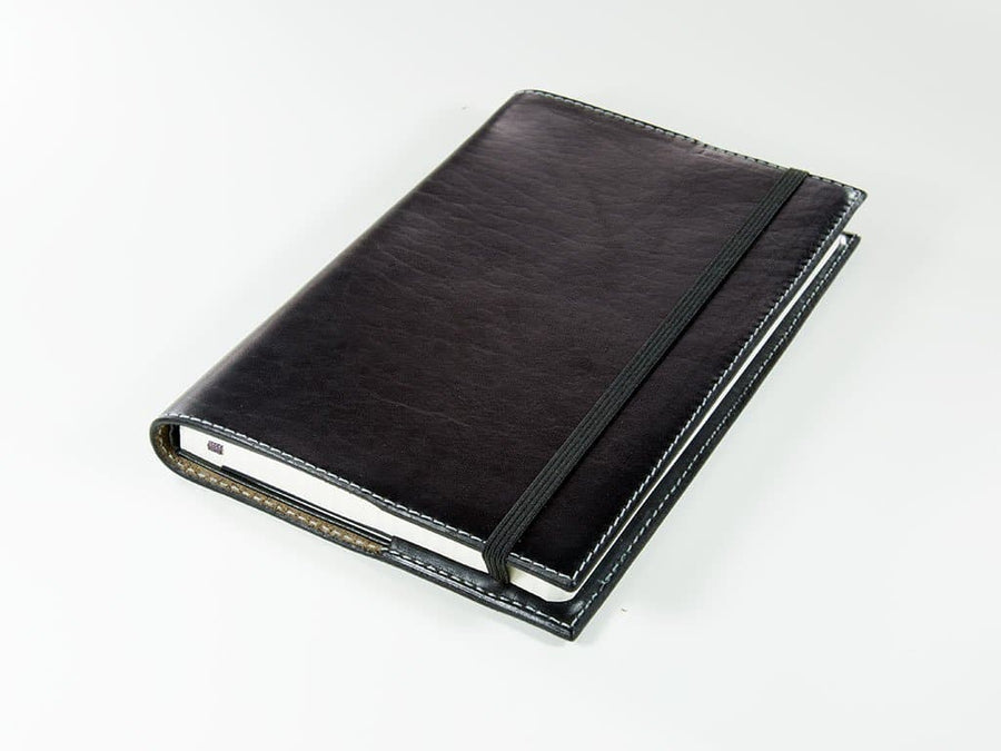 image of xl horween leather journal black