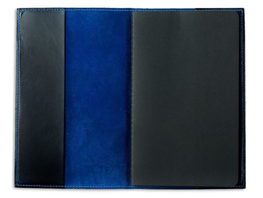 picture of blue pocket journal in horween leather