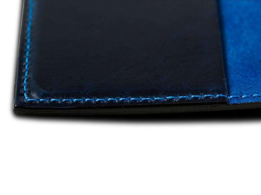 photo of pocket notebook in horween blue leather