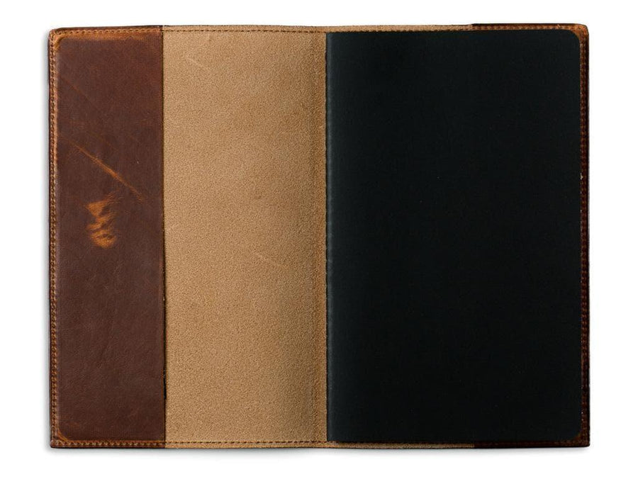 picture of chestnut pocket journal in horween leather