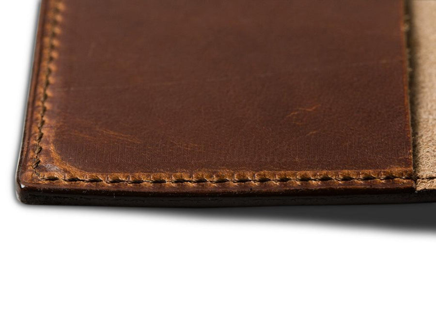 image of handmade chestnut leather pocket journal