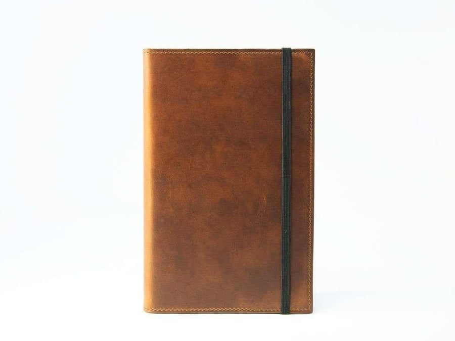 photo of pocket notebook in horween chestnut leather