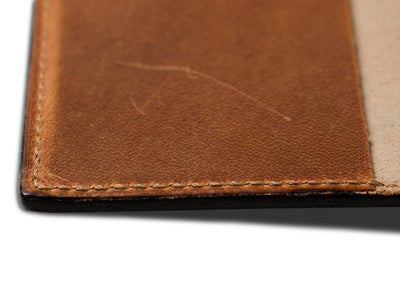 picture of pocket journal in natural horween leather