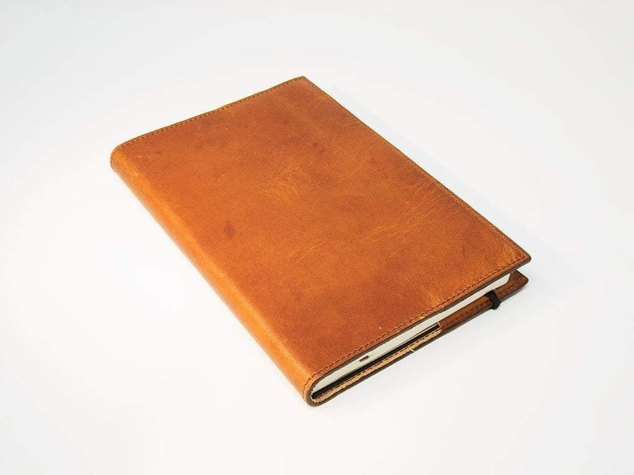 photo of large natural horween leather journal