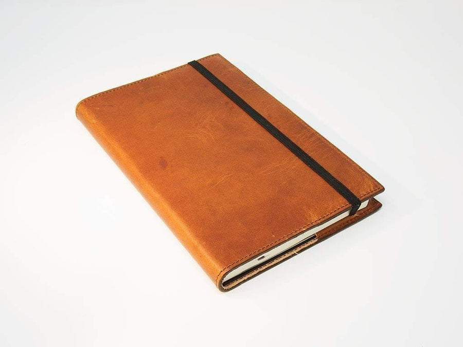picture of large leather journal of natural color